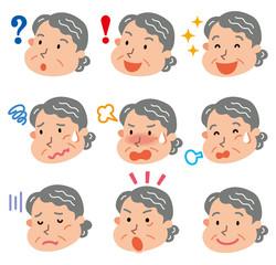 老人 女性 表情 いろいろ
