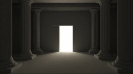 Animation of Ancient Interior with Opened Secret Door