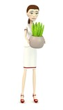 3d render of cartoon character with aloe