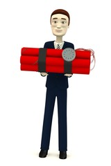 3d render of cartoon character with dynamite