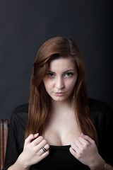 Young woman with beautiful cleavage