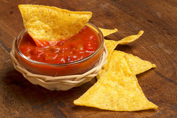 nachos and spicy tomato sauce