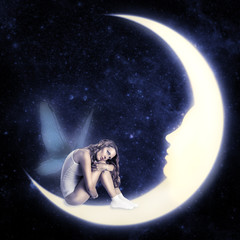 fairy with wings sitting on moon