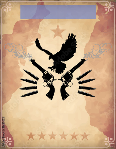 Poster with dual revolvers and a bird