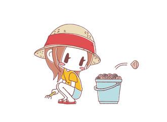 女の子とバケツと貝