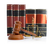 Scales of justice, law books and gavel isolated