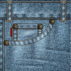 Denim background with jeans pocket, rivets, stitches and folds
