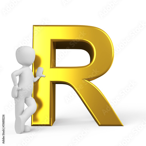 der Buchstabe R in 3D