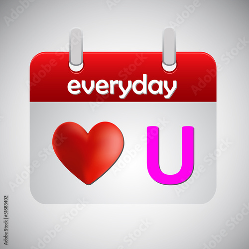 Love you everyday calendar icon,