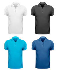 Black and white and color men t-shirts. Design template