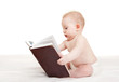 Cute baby with book on the white background