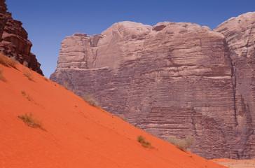 A variety of different colors in Wadi Rum desert in Jordan