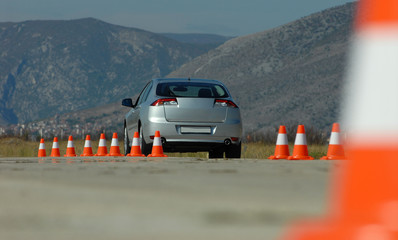 car and cones