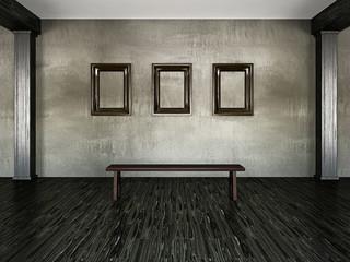 Three empty wooden frames