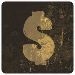 Grunge illustration of dollar sign. Vector