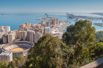 Aereal view of malaga from gibralfaro