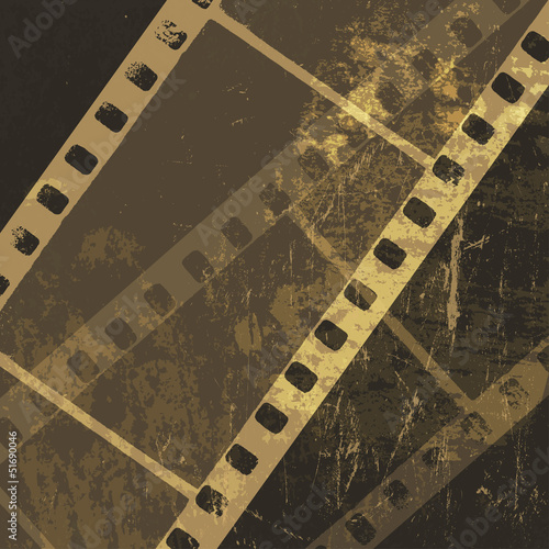 Grunge film strip background. Vector