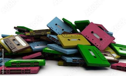 cassette tapes isolated on white background