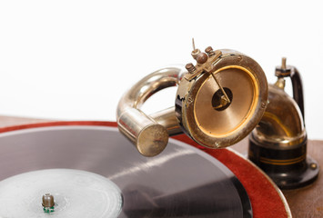 Retro gramophone with vinyl spinning