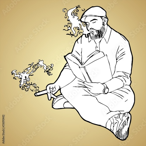 Man reading a book and smoking vector