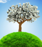 3D Money growing on trees