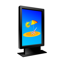 billboard with beach vector illustration