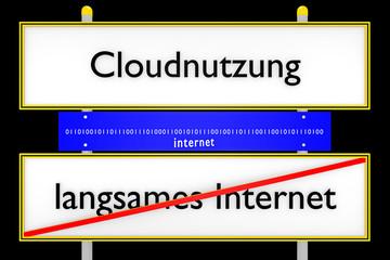 Cloudnutzung vs langsames Internet konzeptionell_Internet - 3D