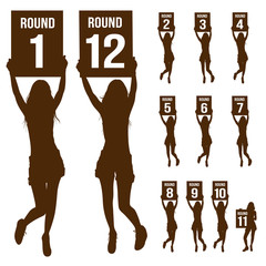 Silhouette boxing ring girl, holding sign, vector