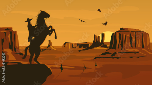 Horizontal cartoon illustration of prairie wild west. - 51692240