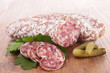 close up on salami and bread