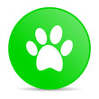 animal footprint green circle web glossy icon