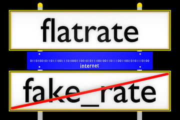 flatrate vs fake_rate konzeptionell_Internet - 3D