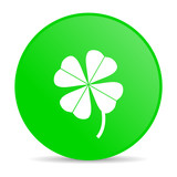 four-leaf clover green circle web glossy icon