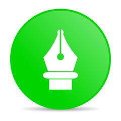 pen green circle web glossy icon