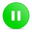 pause green circle web glossy icon