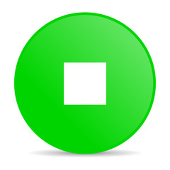 stop green circle web glossy icon