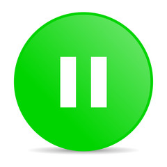 pause green circle web glossy icon
