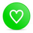 heart green circle web glossy icon
