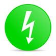 lightning green circle web glossy icon