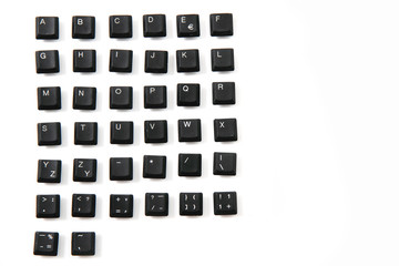 alphabet from keyboard keys as font