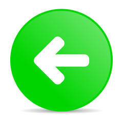 arrow left green circle web glossy icon