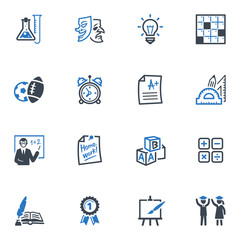 School and Education Icons - Set 4 | Blue Series