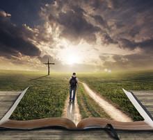 """Постер, картина, фотообои """"Man walking on Bible"""""""