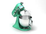 Light green kitchen mixer with chrome in isometric view