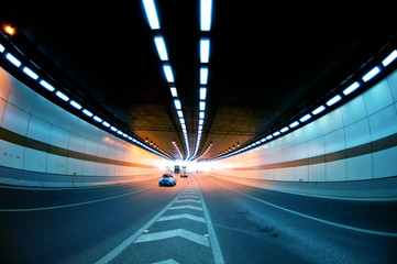 Abstract speed motion in urban highway road tunnel