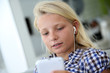 Portrait of teenager using smartphone