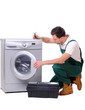 A repairman a washing machine
