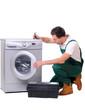 A repairman a washing machine