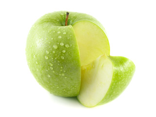 Isolated sliced wet green apple with slice