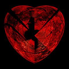 Fractal flame background. Broken red heart on black.